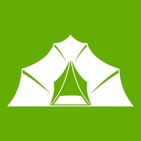 Hiking and camping tent icon green