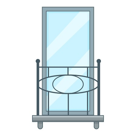 Railing balcony icon, cartoon style Illustration