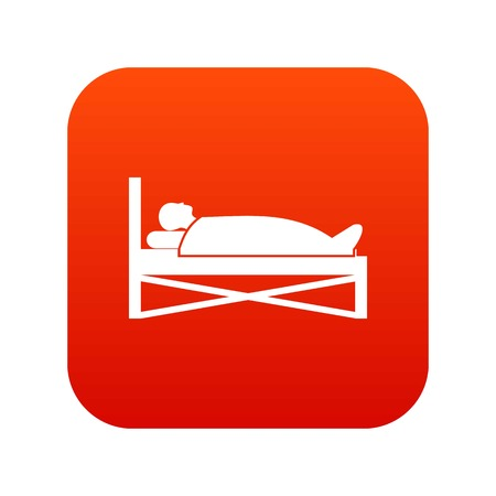lying in bed: Patient in bed in hospital icon digital red