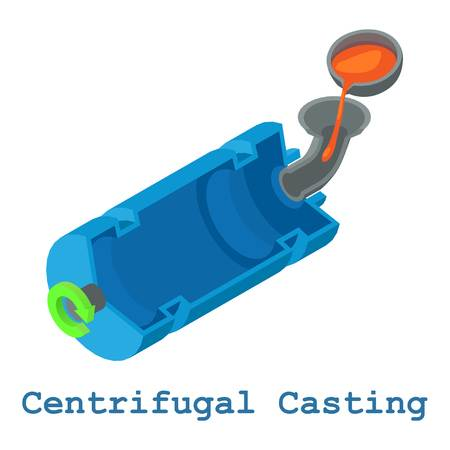 Centrifugal casting metalwork icon, isometric 3d style Illustration