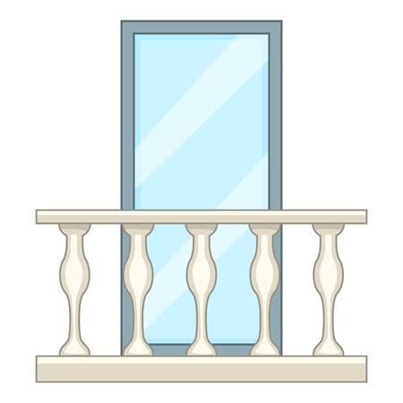 漫画のスタイルの装飾的なバルコニー アイコン