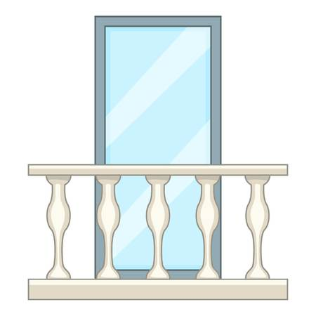 Decorative balcony icon, cartoon style