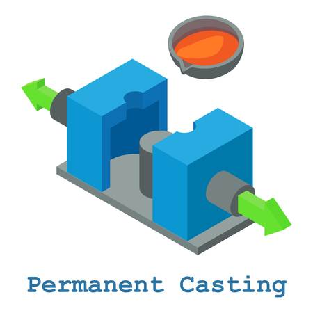 Permanent casting metalwork icon. Isometric illustration of permanent casting metalwork vector icon for web
