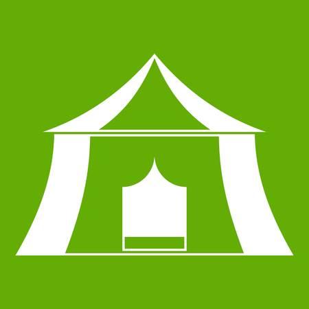 sports equipment: Hiking pavilion icon white isolated on green background. Vector illustration Illustration