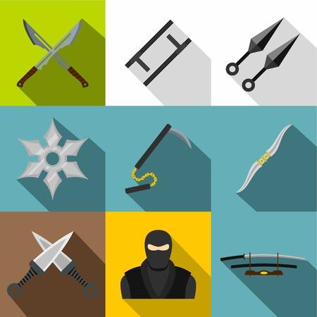 アジアの忍者の武器アイコンを設定。フラット スタイルの web デザイン 9 アジア忍者アーセナル ベクトルのアイコン設定  イラスト・ベクター素材