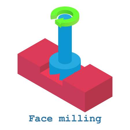 Face milling metalwork icon, isometric 3d style Illustration