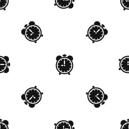 six objects: Alarm clock pattern seamless black
