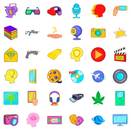 Virtualization icons set, cartoon style Illustration