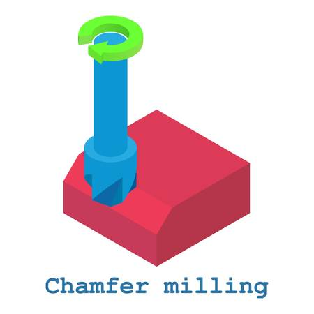 Chamfer milling metalwork icon, isometric 3d style