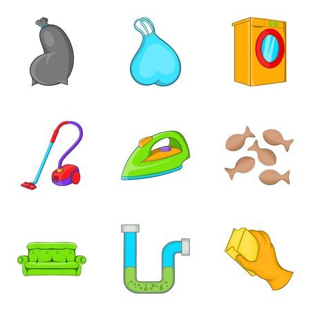Cleaning house service icon set, cartoon style Illustration