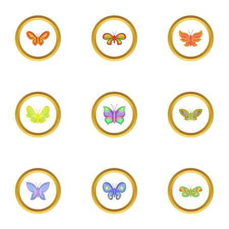 Realistic butterflies icons set, cartoon style Illustration