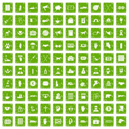 gift accident: 100 donation icons set grunge green