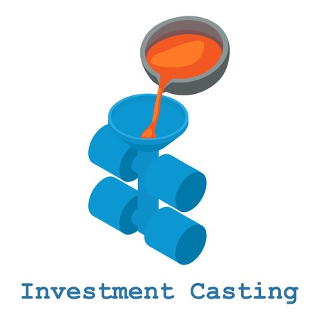 Investment casting metalwork icon, isometric 3d style