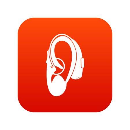 Aide auditive icône rouge numérique Banque d'images - 85574385