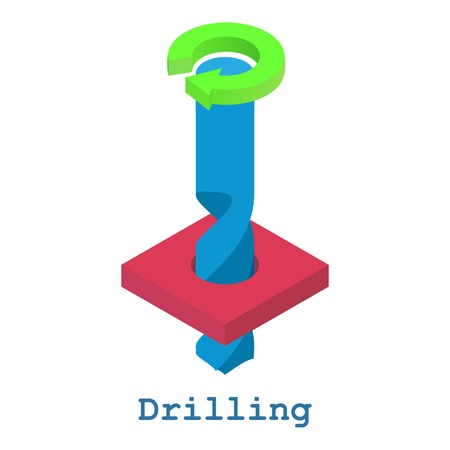 Drilling metalwork icon, isometric 3d style