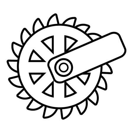 カッティングホイールのアイコンを採掘。白い背景に分離された web デザインのための掘削ホイールベクトルアイコンの輪郭図