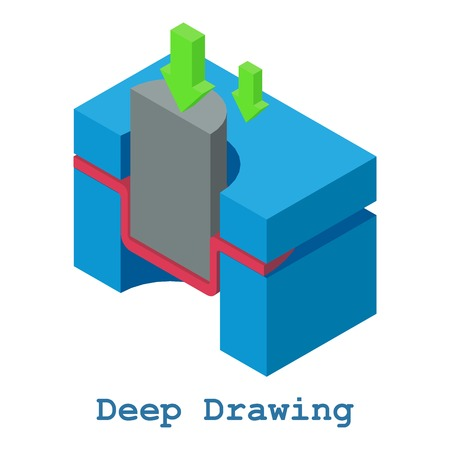 Deep drawing metalwork icon, isometric 3d style