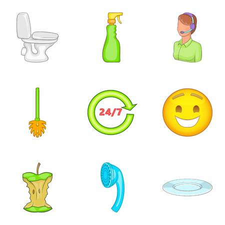 Toilet cleaning service icon set, cartoon style Illustration