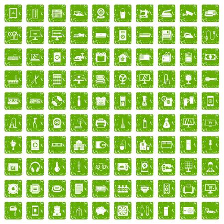 100 appliances icons set in grunge style green color isolated on white background vector illustration