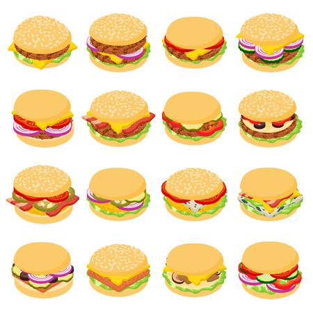 Burger classic icons set, isometric style