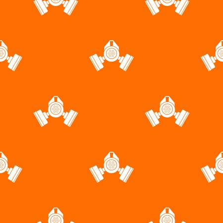 Gas mask pattern repeat seamless in orange color for any design. Vector geometric illustration