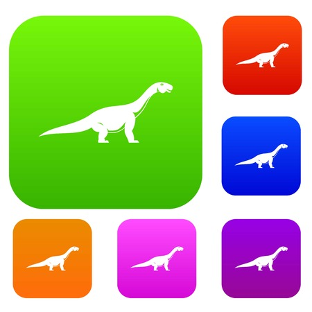 Titanosaurus dinosaur set icon color in flat style isolated on white. Collection sings vector illustration