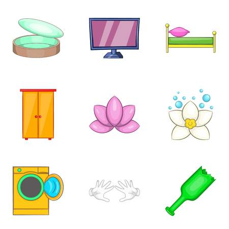 bathroom interior: Home cleaning service icon set. Cartoon set of 9 home cleaning service vector icons for web design isolated on white background