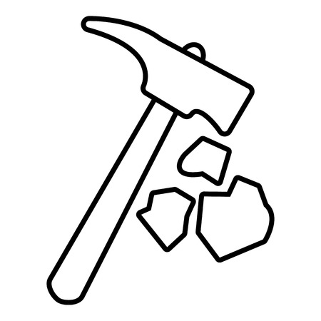 Minning hand hammer icon. Outline illustration of minning hand hammer vector icon for web design isolated on white background Çizim
