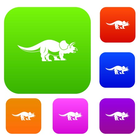 Styracosaurus set icon color in flat style isolated on white. Collection sings vector illustration
