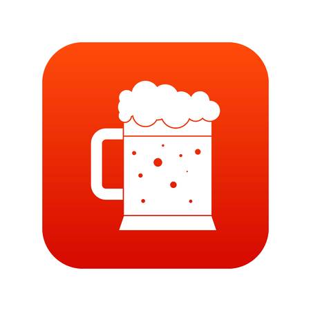 red clover: Beer mug icon digital red for any design isolated on white vector illustration