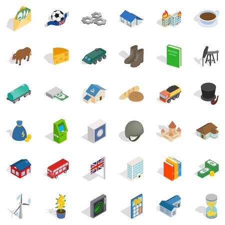 car isolated: Wealth icons set, isometric style