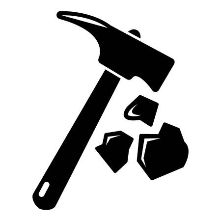 Minning hand hammer icon , simple style