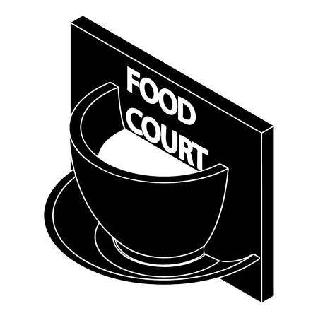 Food court icon, simple style Illustration