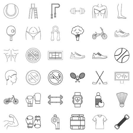 heart monitor: Jumping icons set, outline style Illustration