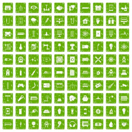 100 energy icons set in grunge style green color isolated on white background vector illustration