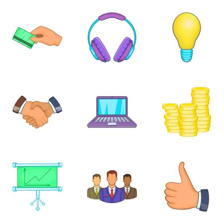 Business client support icon set. Cartoon set of 9 business client support vector icons for web design isolated on white background Illustration