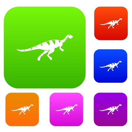 Gallimimus dinosaur set icon color in flat style isolated on white. Collection sings vector illustration