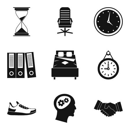 Work time icon set. Simple set of 9 work time vector icons for web design isolated on white background
