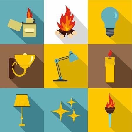 Illumination source icon set. Flat style set of 9 illumination source vector icons for web design