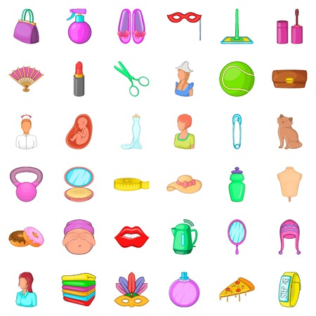 pregnant women donuts: Cosmetic icons set, cartoon style Illustration