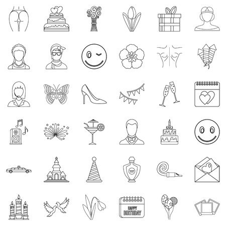 Cocktail icons set. Outline style of 36 cocktail vector icons for web isolated on white background Imagens