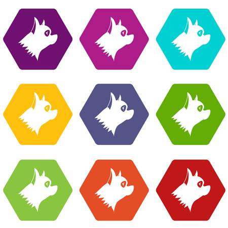 Pinscher dog icon set many color hexahedron isolated on white vector illustration