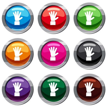communication cartoon: Hand showing five fingers set icon isolated on white. 9 icon collection vector illustration