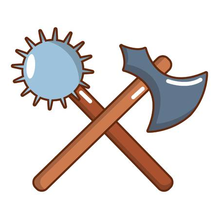 Medieval battle ax and mace icon. Cartoon illustration of medieval battle ax and mace vector icon for web