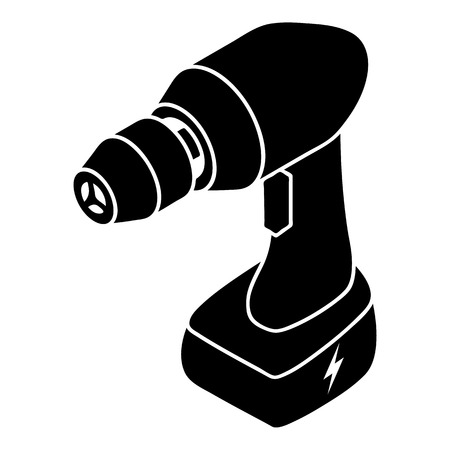 details: Cordless drill icon. Simple illustration of cordless drill vector icon for web design isolated on white background