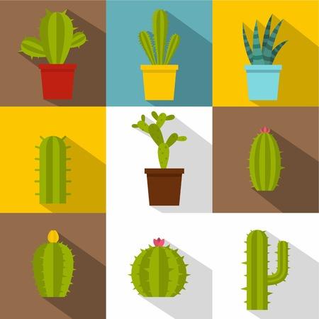 Cactus plants icon set. Flat style set of 9 cactus plants vector icons for web design Illustration