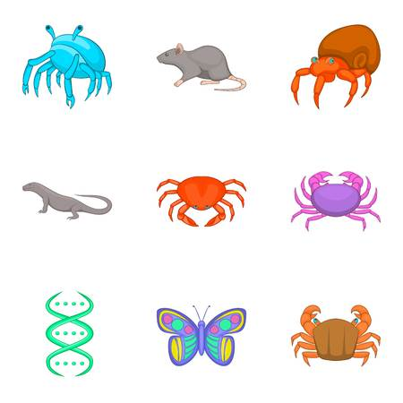 Study of fauna icons set, cartoon style