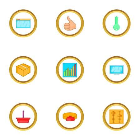 Browser settings icons set, cartoon style Illustration