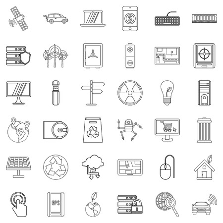 car isolated: Communication icons set, outline style