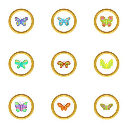 butterfly isolated: Spring butterflies icons set, cartoon style Illustration